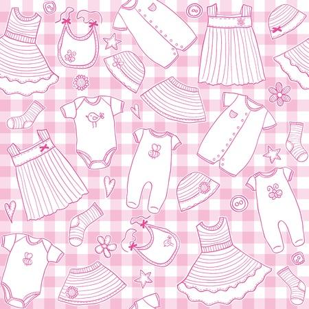 女の赤ちゃん服をシームレスなパターン、ベクトル イラスト