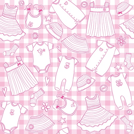 Baby girl clothes seamless pattern, vector illustration Illustration