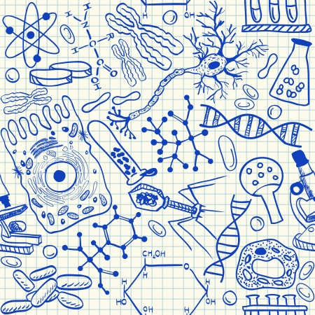 dna icon: Biology doodles on school squared paper, seamless pattern
