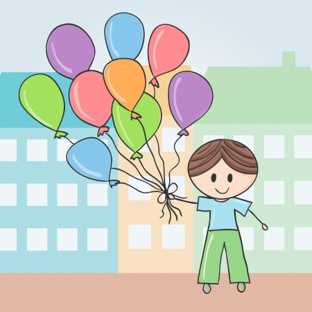 little town: Illustration of boy with balloons in city, doodle style Illustration