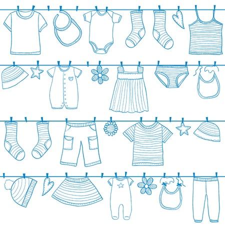 洋服: 子供と赤ちゃんの服を物干しシームレスなパターンに、スタイルを落書き