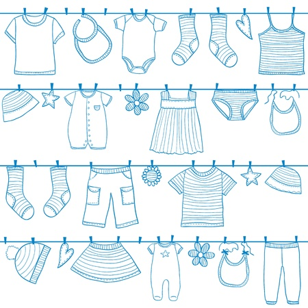 peg: Children and baby clothes on clothesline seamless pattern, doodle style