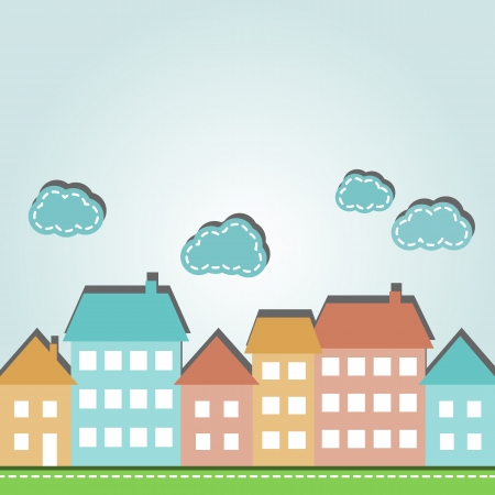 small town: Illustration of cartoon city houses and clouds