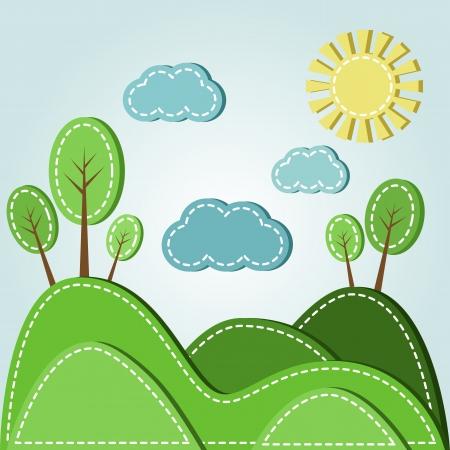 Illustration des Frühlings hügelige Landschaft mit Wolken, gestrichelten Stil