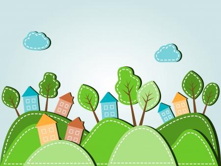 Illustration des Frühlings hügelige Landschaft mit Häusern, gestrichelten Stil Standard-Bild - 19295730