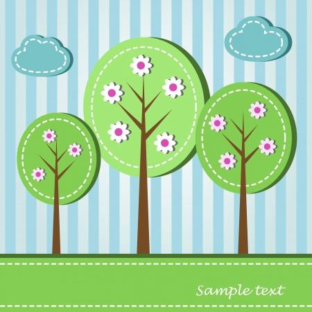 природа: Иллюстрация весной цветущие деревья, пунктирная стиле