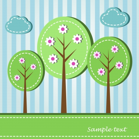 Illustration of spring blooming trees, dashed style Vector
