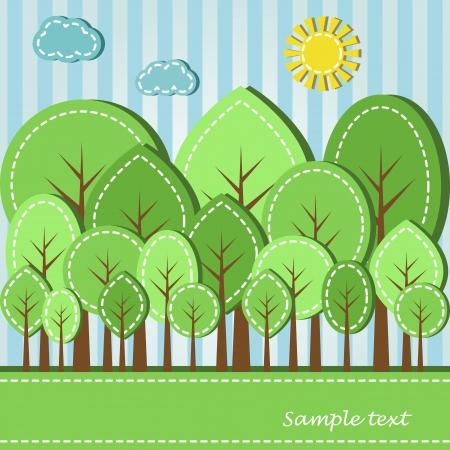 Illustratie van de lente of zomer gekleurd bos, gestreepte stijl