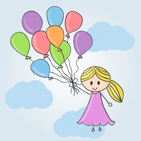 hands in the air: Illustration of girl with balloons and clouds, doodle style