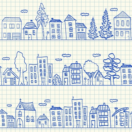 building sketch: Houses doodles on school squared paper, seamless pattern