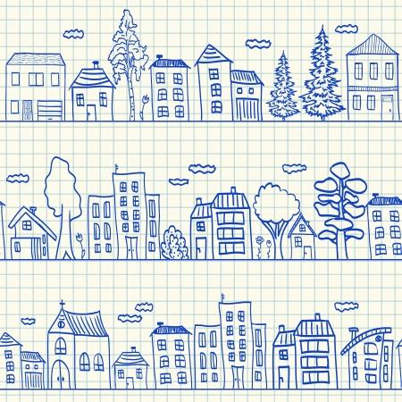 Huizen doodles op scholen ruitjespapier, naadloos patroon