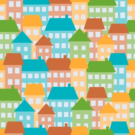 Illustration of colored houses in town, seamless pattern Vector
