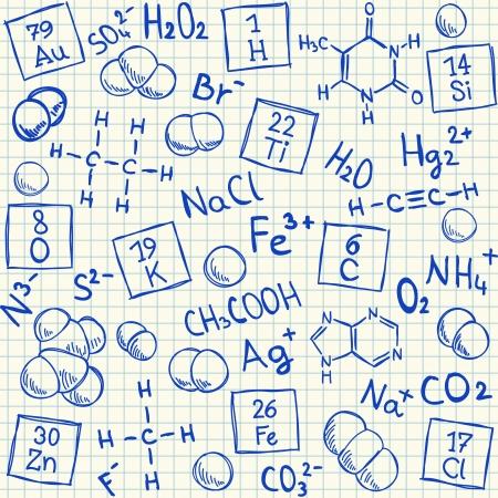 Doodles químicos sobre papel cuadriculado escuela, ilustración vectorial