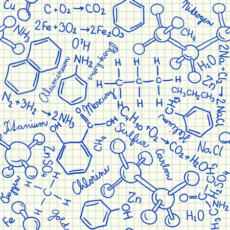chemistry formula: Chemical doodles on school squared paper, seamless pattern