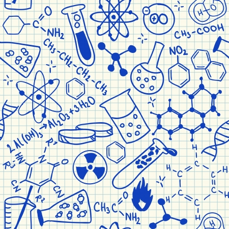 science chemistry: Chemical doodles on school squared paper, seamless pattern