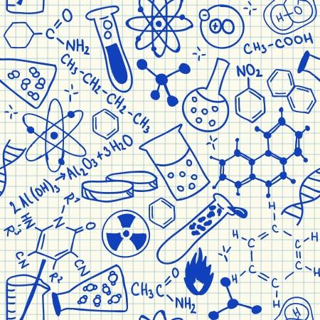 Doodles químicos sobre papel cuadriculado escuela, sin patrón