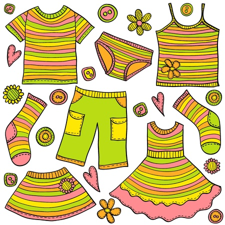 clothes cartoon: Children clothes colored doodles, hand drawn style, vector illustration