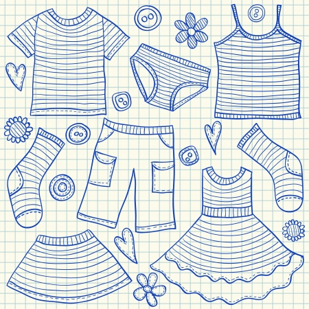 Children clothes doodles on school squared paper