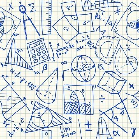 Garabatos matemáticos sobre papel cuadriculado escuela, sin patrón Ilustración de vector