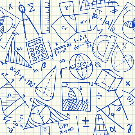 Mathematical doodles on school squared paper, seamless pattern Illustration