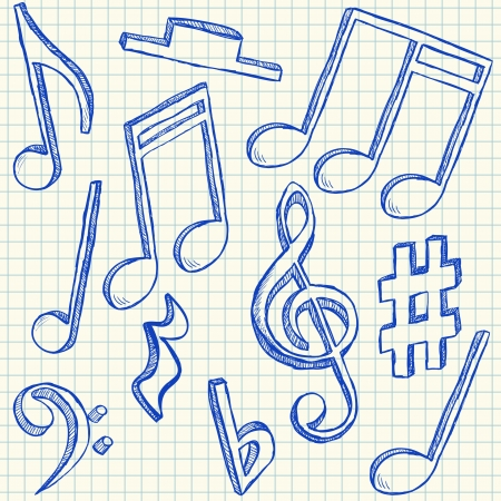 Musical notes doodles on school squared paper Vector
