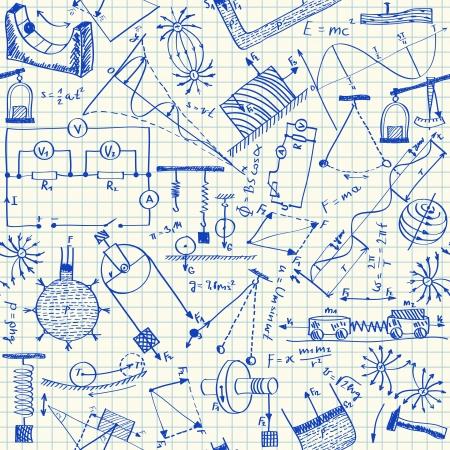 Fysica doodles op scholen ruitjespapier, naadloos patroon