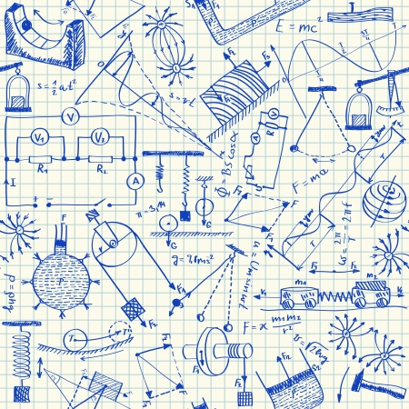 Physics doodles on school squared paper, seamless pattern Vector