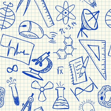 Science doodles on school squared paper, seamless pattern Illustration
