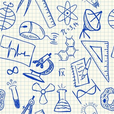leerboek: Wetenschap doodles op scholen ruitjespapier, naadloos patroon Stock Illustratie