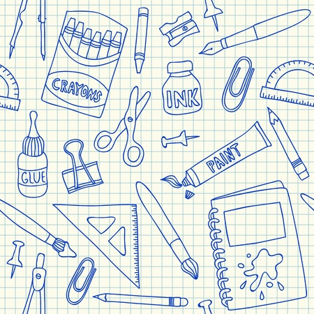 School supplies doodles on school squared paper, seamless pattern Vector