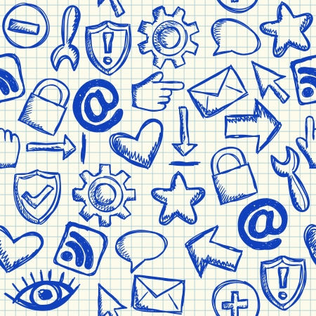Social media doodles on school squared paper, seamless pattern Vector