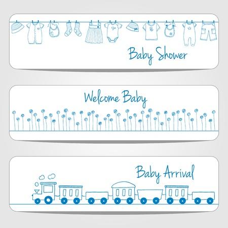 Hand getrokken baby shower banners, doodle stijl