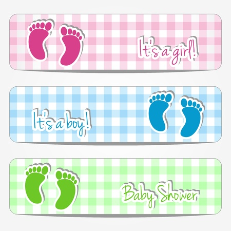 bannières de douche de bébé avec des empreintes de pas et fond en damier