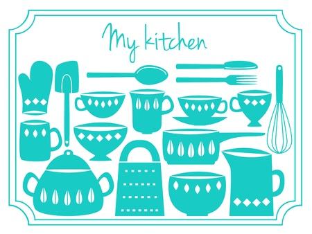 whisk: Illustration of kitchen dishes and utensils, retro style Illustration