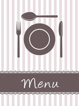 Restaurant menu or food card design, background with dishes and cutlery Vector