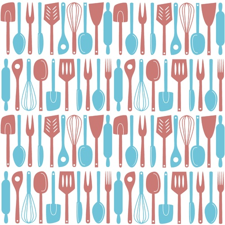 Illustration of kitchen utensils and cutlery, seamless pattern Vector