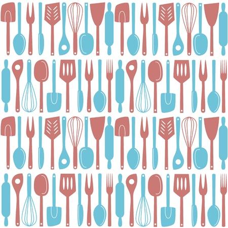 Illustration von Küchenutensilien und Besteck, nahtlose Muster Illustration