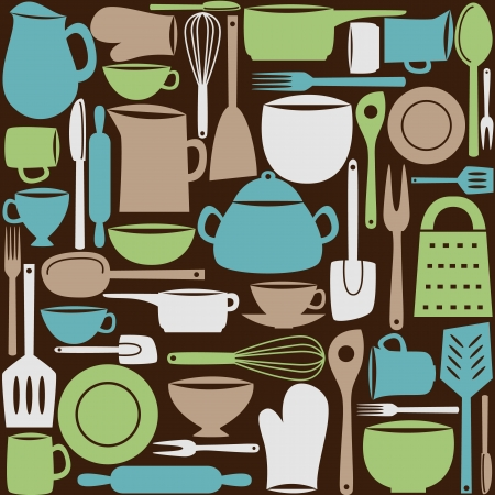 Illustration of kitchen dishes and utensils, seamless pattern Vector