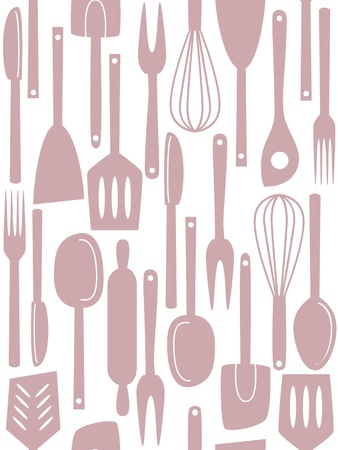 Illustration of kitchen utensils and cutlery, seamless pattern Stock Vector - 19379301