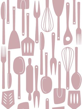 Illustration of kitchen utensils and cutlery, seamless pattern Stock Vector - 19379301