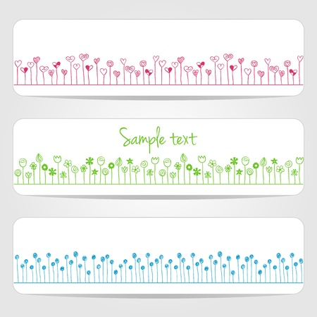Illustration of hearts and flowers in line, on white banners Vector
