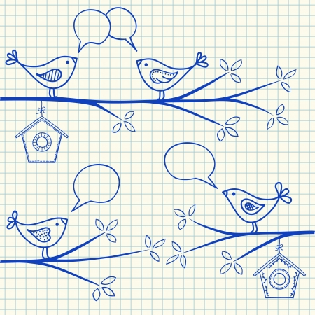 Illustration of birds sitting on a branch with birdhouse Vector
