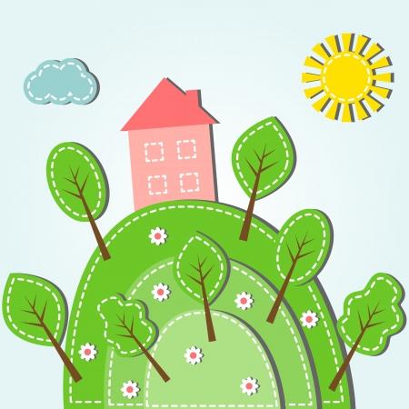 Illustration des Frühlings hügelige Landschaft mit Haus, gestrichelten Stil