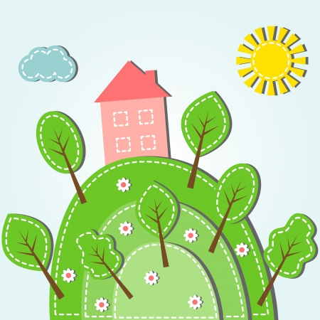 cartoon trees: Illustration of spring hilly landscape with house, dashed style