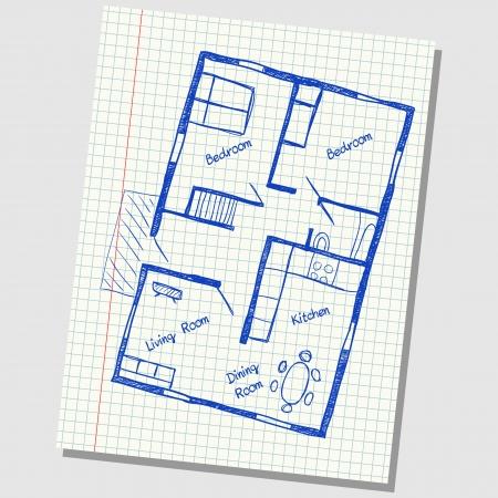 plan maison: Illustration de plan d'�tage griffonner sur un papier quadrill� �cole