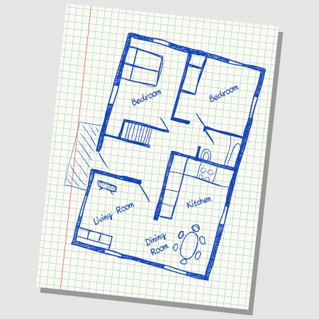 Illustration of floor plan doodle on school squared paper Vector