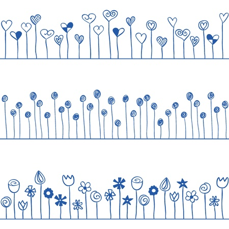Illustration of hearts and flowers in line, seamless pattern
