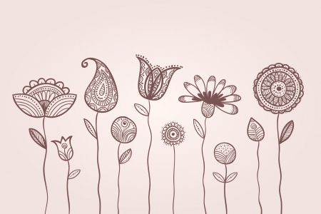 Illustration of doodle flowers,  with patterns on leaves and petals