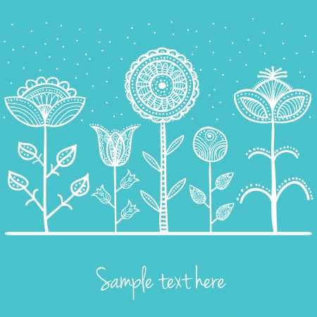 Illustration of doodle flowers,  with patterns on leaves and petals Stock Vector - 19846635