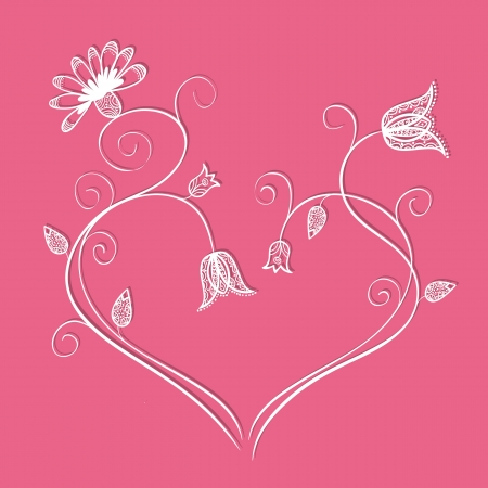 Illustration of doodle flowers in heart shape with swirls Stock Vector - 19846642